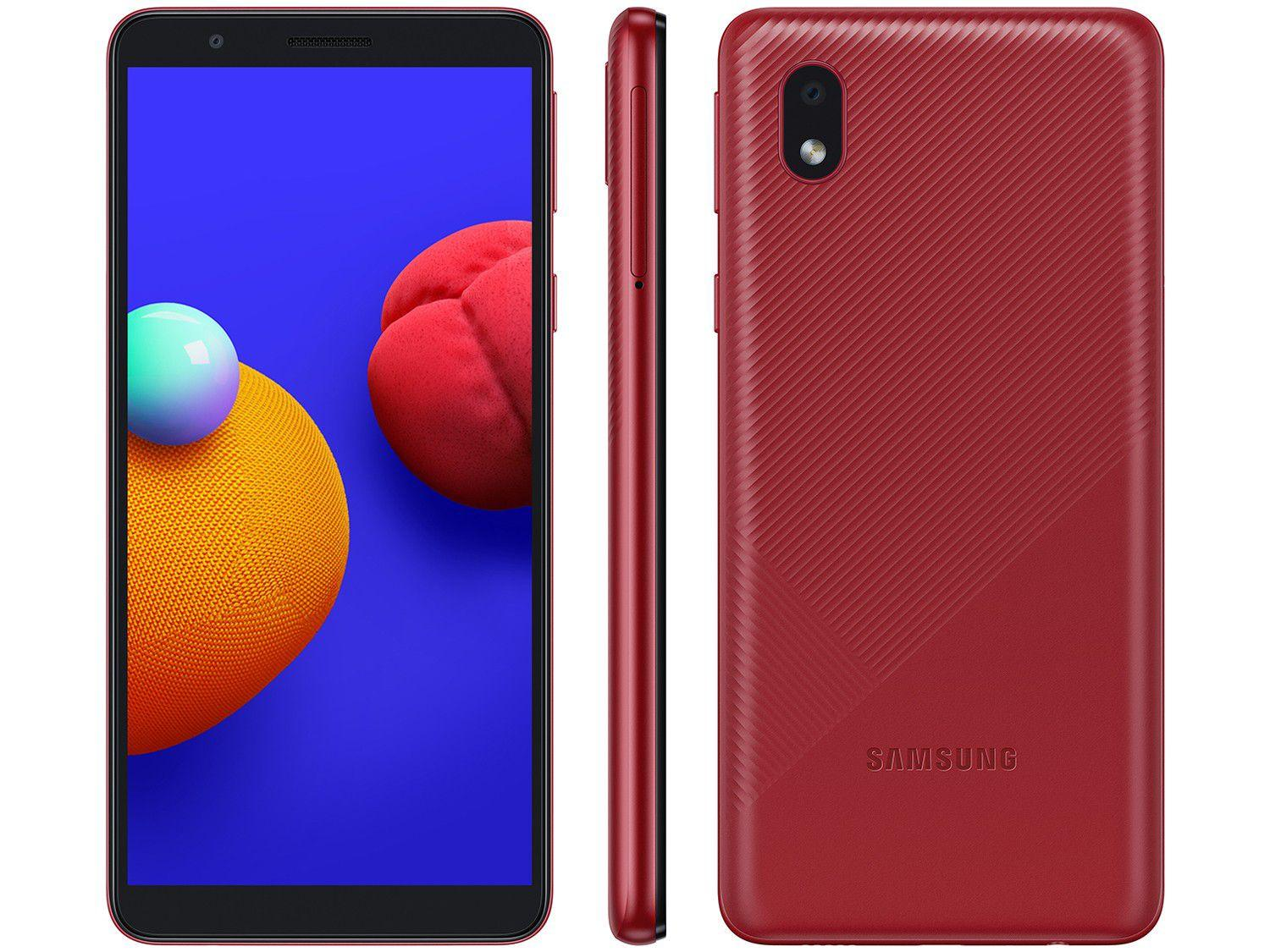 "Smartphone Samsung Galaxy A01 Core 32GB Vermelho - Quad-Core 2GB RAM Tela 5,3"" Câm. 8MP + Selfie 5MP"