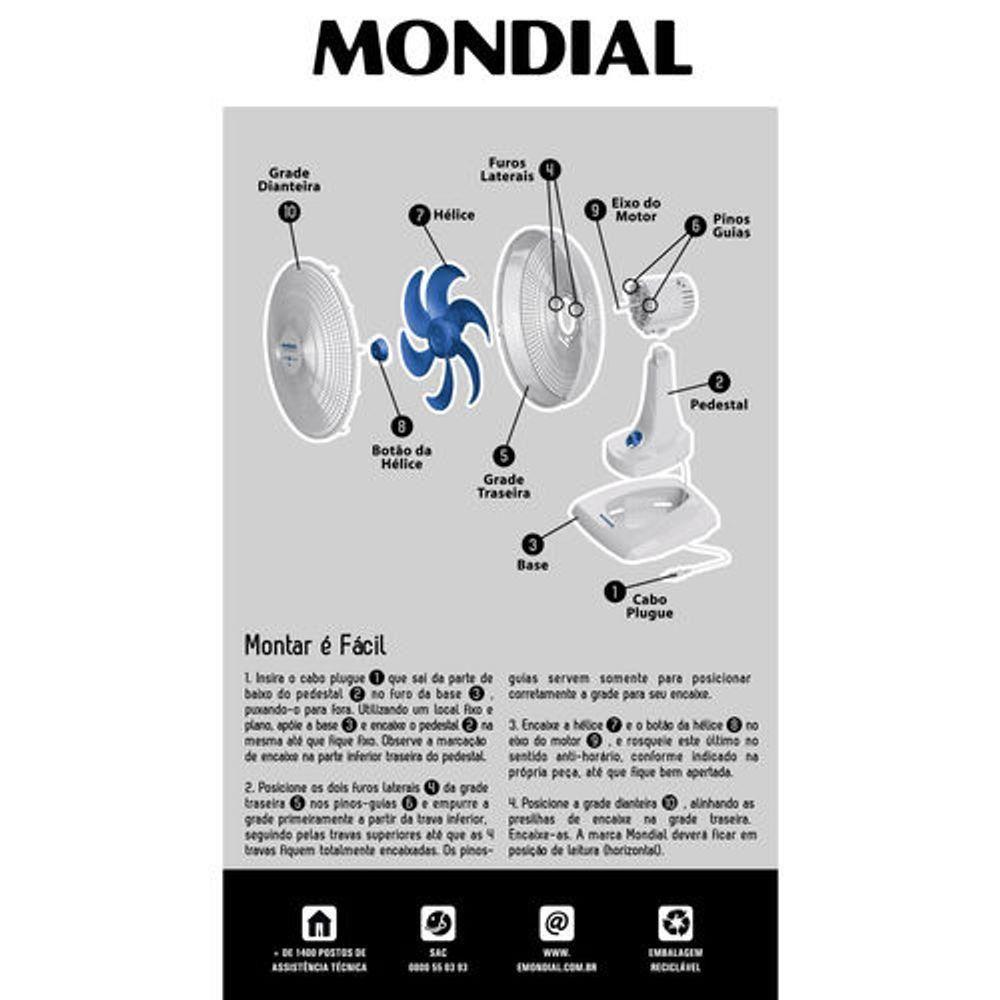 VENTILADOR MONDIAL NV-45-6P BCO
