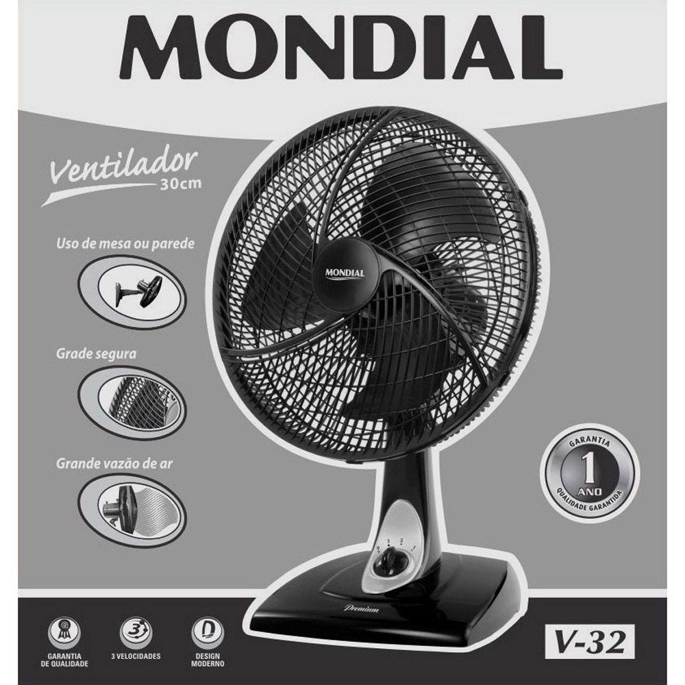 VENTILADOR MONDIAL V-32 30CM PRETO 220V