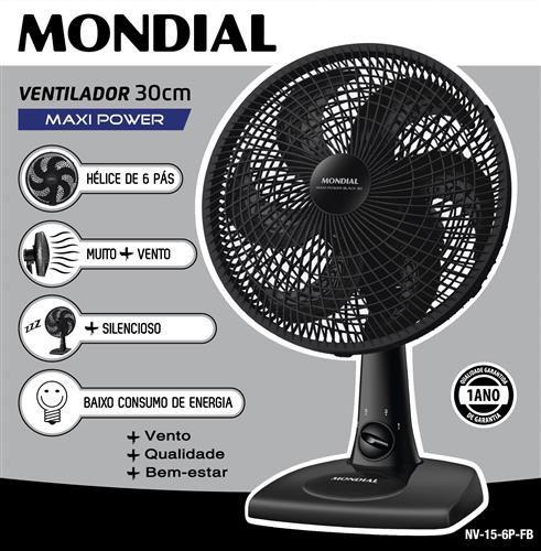 VENTILADOR MONDIAL V-37-6P 30CM PTO