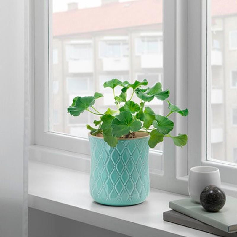 Vaso Porto Cop Cerâmica 20 cm Azul