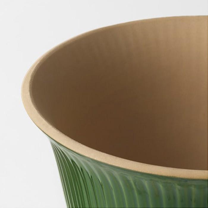 Vaso Porto Palm Cerâmica 20 cm Verde