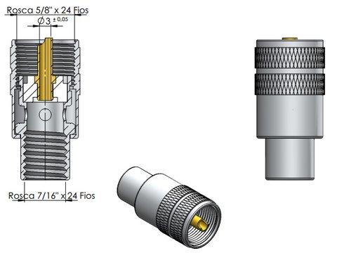 CONECTOR UHF MACHO RETO SOLDA - KLC