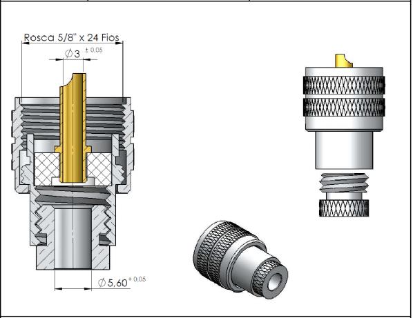 CONECTOR UHF MACHO RETO SOLDA RG-58 - KLC