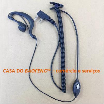 FONE DE OUVIDOS + PTT DE LAPELA BAOFENG - CABO ESPIRALADO