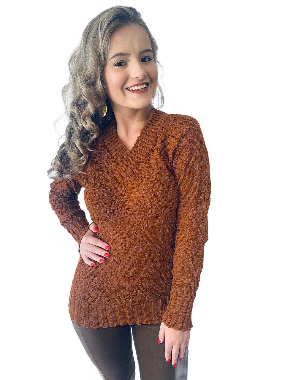 Blusa de tricô decote V