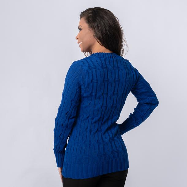 Blusa Trico Decote V Tranças