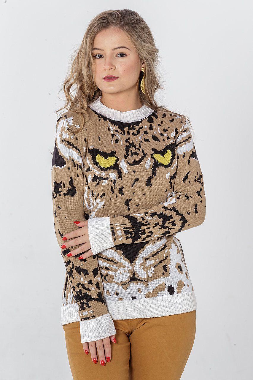 Veste Legging de Tricô Leopardo