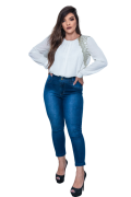 Calça Jeans Elastano Feminina Capri Alta