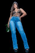 Calça Jeans Elastano Feminina Flare Alta