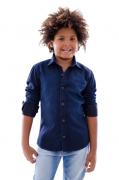 Camisa Infantil Jeans Escuro