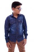 Camisa Infantil Masculina Jeans Estampada