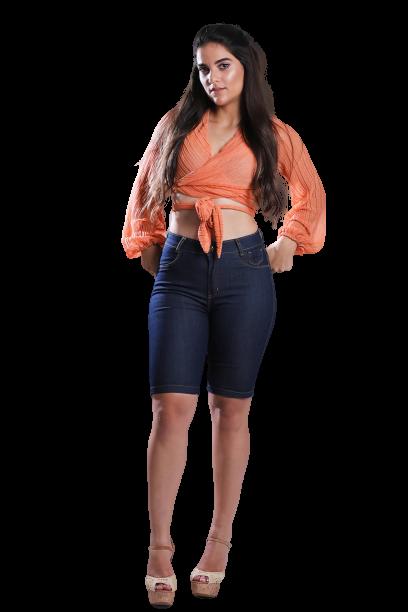 Bermuda Jeans Elastano Feminina Pedal Alta
