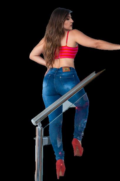 Calça Jeans Elastano Feminina S. Sk. Alta