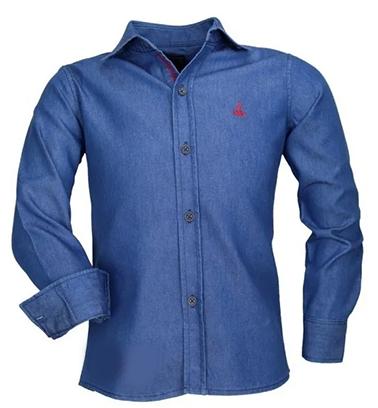 Camisa Infantil Alfa 173 Sem Bolso Tecido Jeans Luxo
