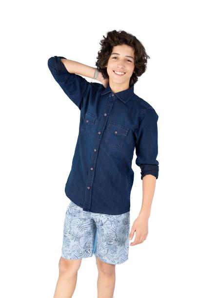 Camisa Infantil Jeans Escura