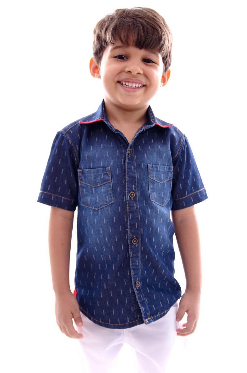 Camisa Infantil Jeans Manga Curta