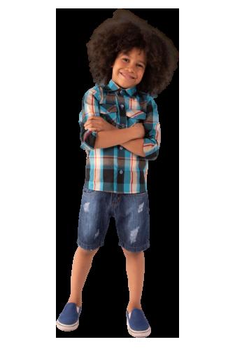 Camisa Infantil Manga Longa Xadrez