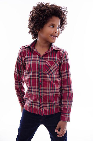 Camisa Infantil Masculina Xadrez Junina