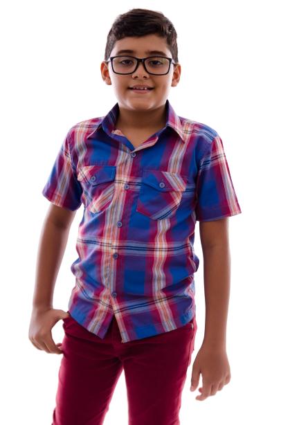 Camisa Infantil Xadrez Manga Curta