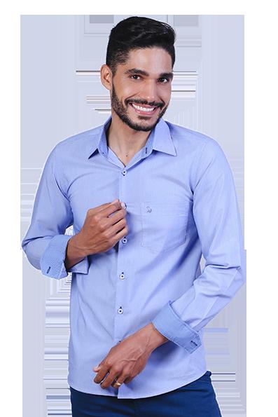 Camisa Social Masculina com Bolso Clark Não Amassa