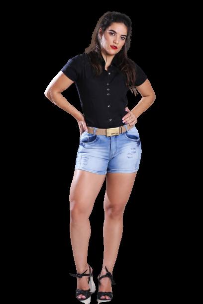 Short Jeans Elastano Feminino Curto Alto com Cinto