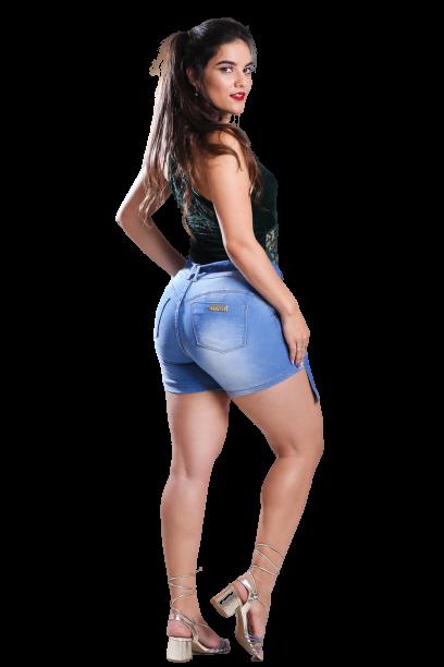 Short Jeans Elastano Feminino Meia Coxa Alto