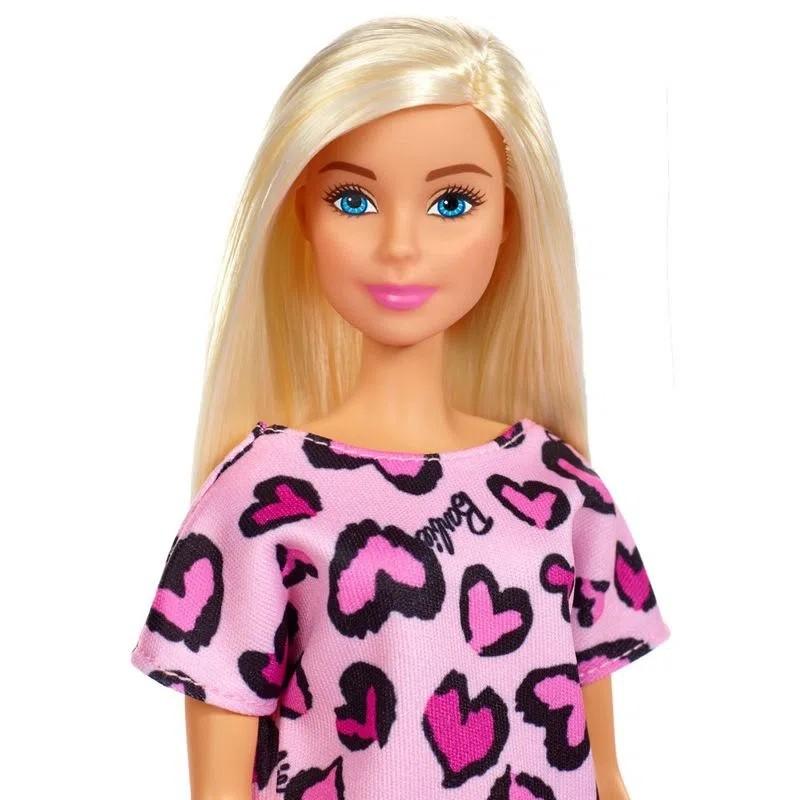 Barbie Fashion and Beauty - Loira com Vestido Rosa Corações