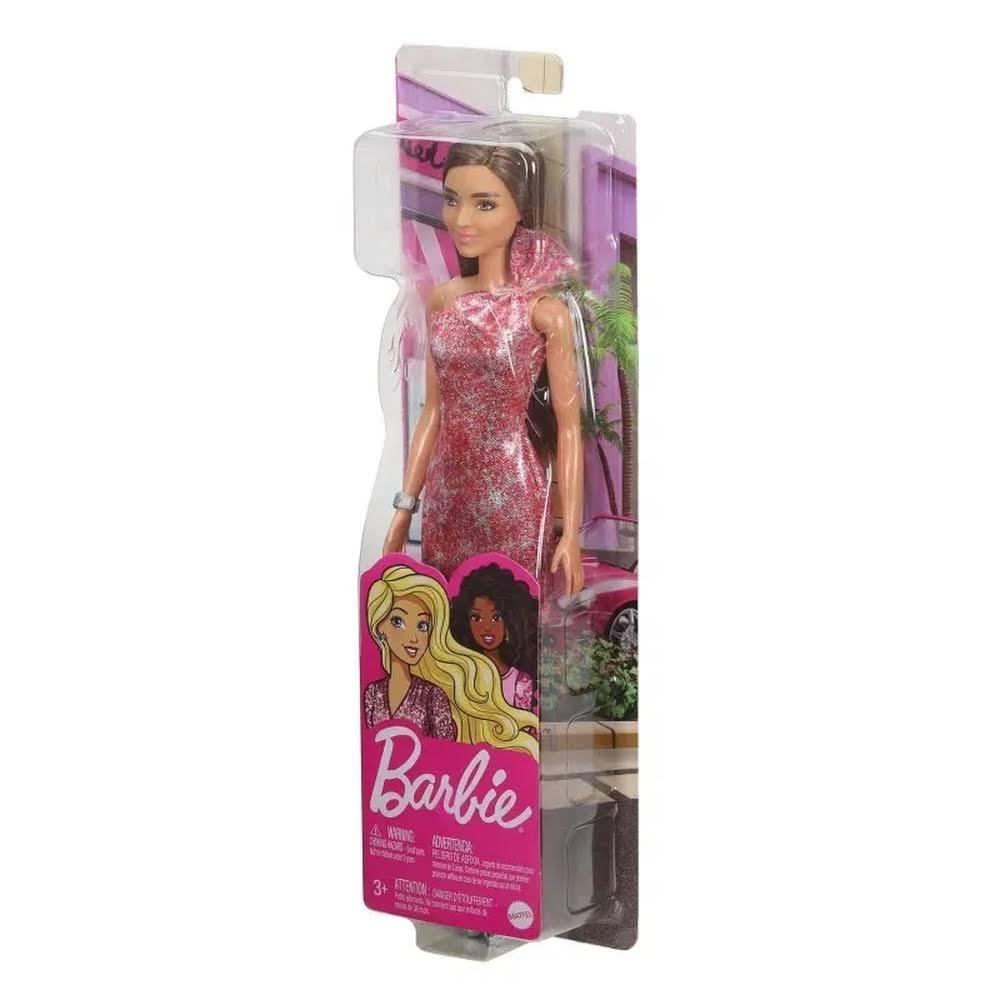 Barbie Glitter - Morena Vestido Rosa