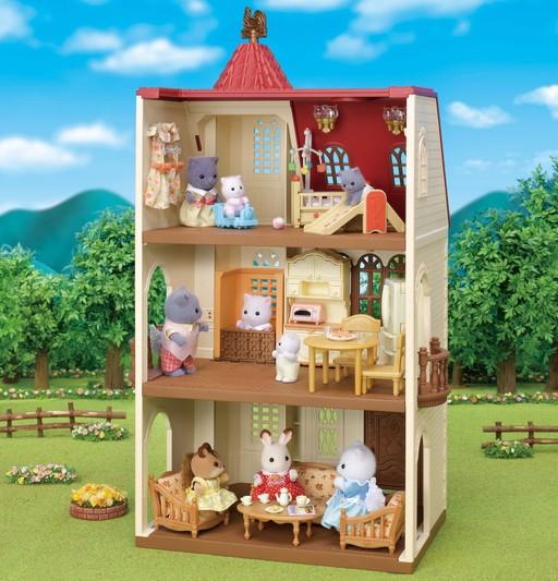 Casa com Torre e Telhado Vermelho Sylvanian Families