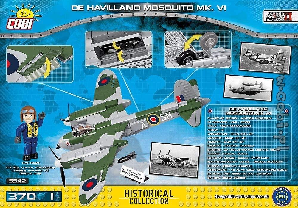 COBI 5542 - Avião Bombardeiro Rei Unido de Havilland Mosquito  com 370 Pçs