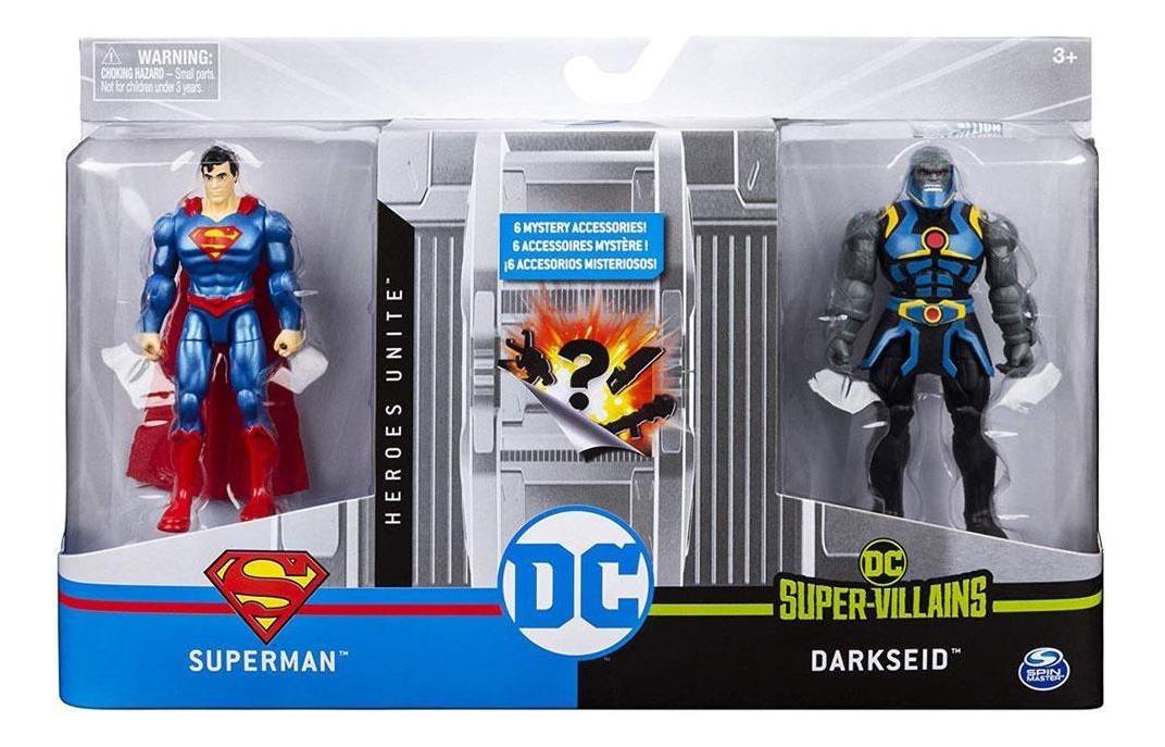 Figura Dc - Herói E Vilão Superman x Darkseid