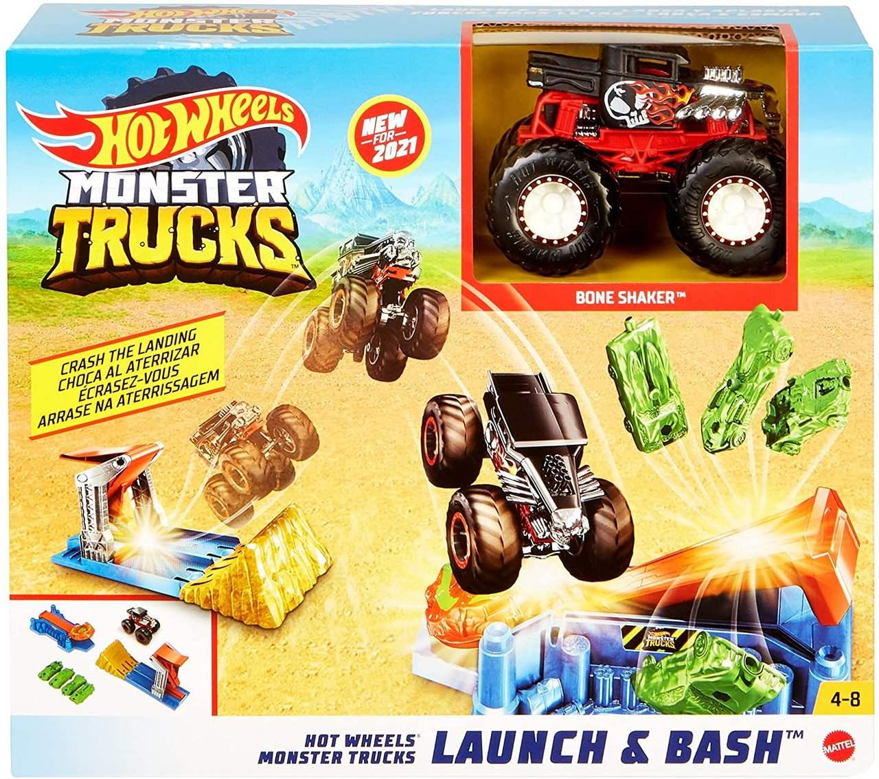 Hot Wheels - Pista Monster Trucks Lança e Esmaga