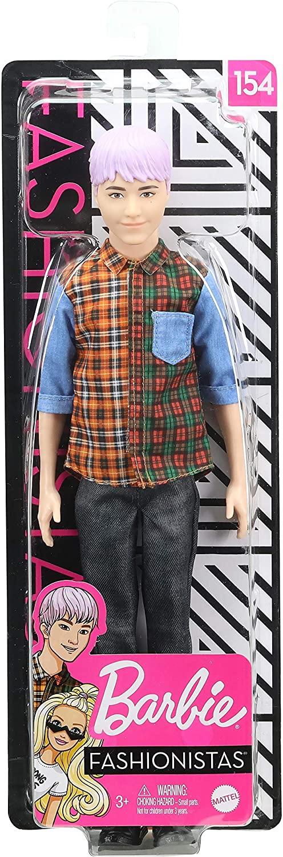 Ken Fashionistas - 154 Cabelo Colorido Camisa Xadrez Calça Jeans