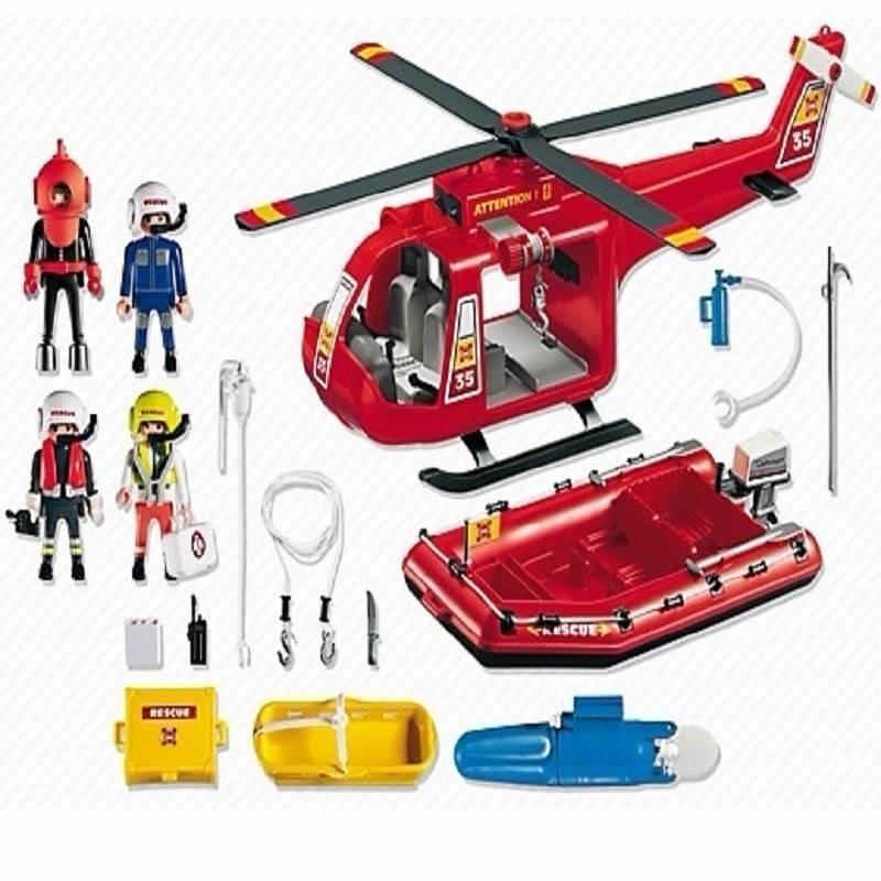 Playmobil Bote e Helicóptero de Resgate