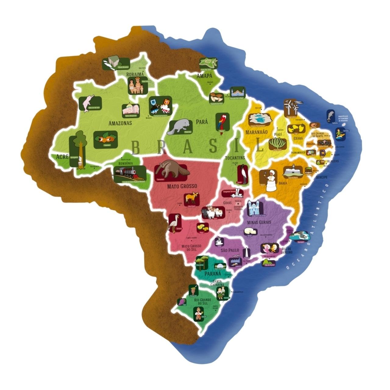 Quebra Cabeça - Gigante Mapa Do Brasil