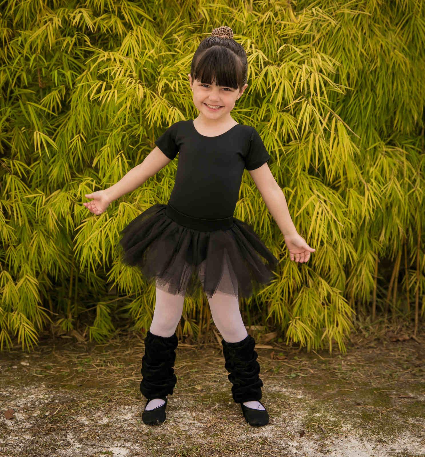 Collant Manga Curta Infantil para Ballet