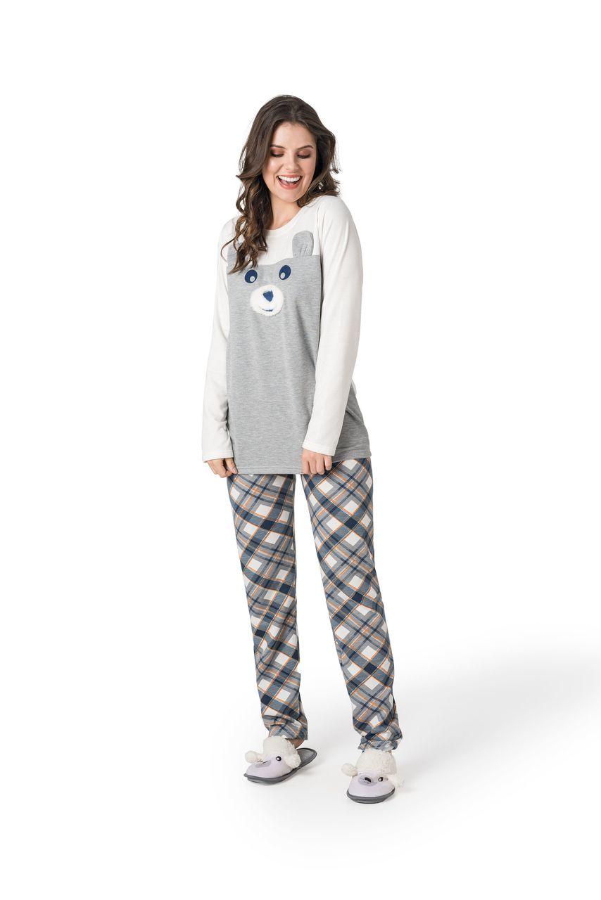 Pijama com aplique calça estampada