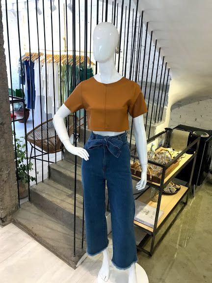 Calça Jeans Pantalona Cinto
