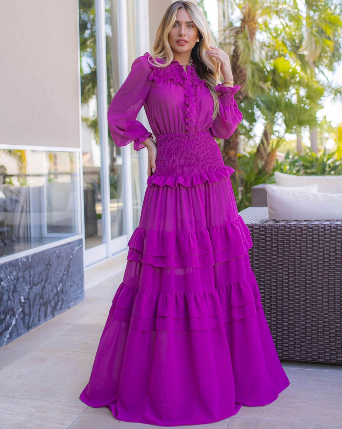 Vestido Babados Crepe Valentino