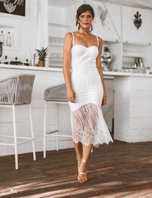 Vestido Bandagem Renda e Tule Branco