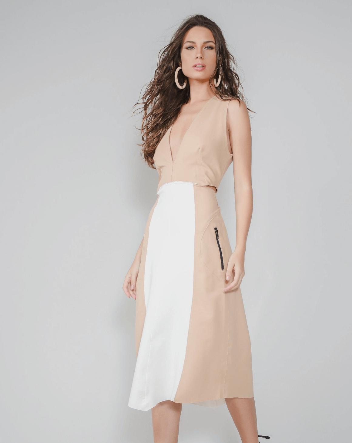 Vestido Bicolor Pespontado