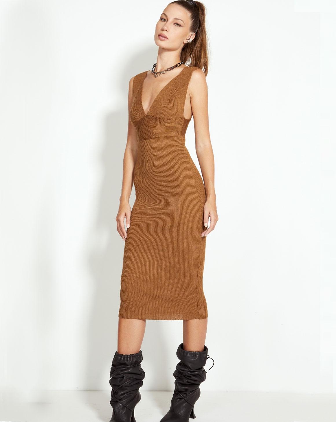 Vestido Midi Tricô Slim