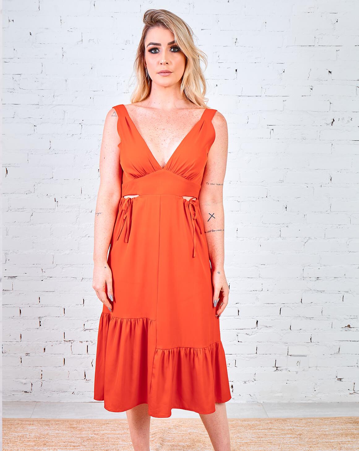 Vestido Recortes com Amarração
