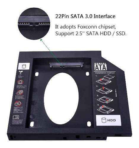 Caddy para HD e SSD Sata 9,5mm Notebook