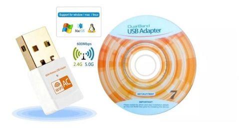 Adaptador Wi-Fi Dual Band 2.4 / 5 GHz 600Mbps Branco