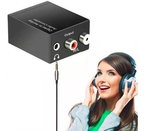 Conversor De Áudio Digital ( Óptico E Coaxial ) Para Analógico ( Rca E P2 Fone De Ouvido ) Kit Completo
