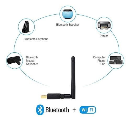 Adaptador Wi-fi Dual Band 2.4 / 5 GHz 600 Mbps + Bluetooth 4.2