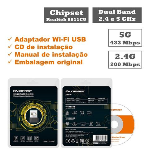 Adaptador Wi-Fi Dual Band 2.4 / 5GHz 650Mbps Wireless 5G