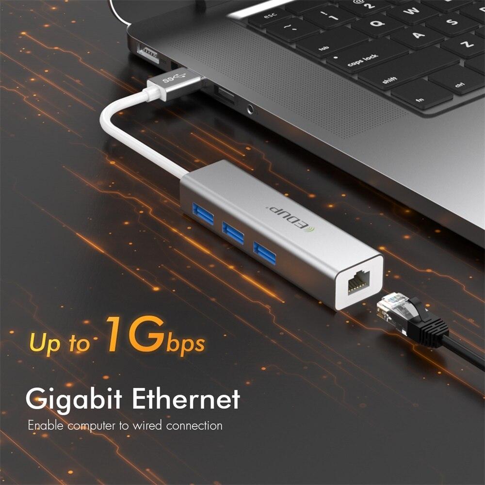 Adaptador Ethernet Rj45 10/100/1000 Gigabit + Hub Usb 3.0